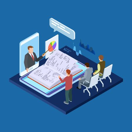 Online business training 3d isometric vector concept. Illustration of online e-learning, web video training