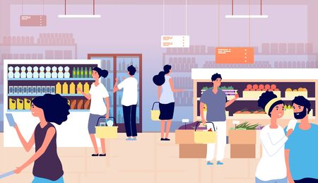 People in grocery store. Persons buy food, vegetables in supermarket. Shopping customers choosing products. Cartoon vector concept. Grocery market with food, store and shop retail illustration