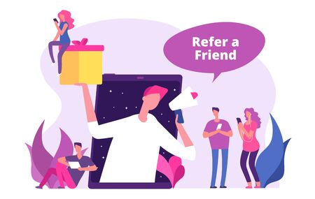 Refer a friends vector illustration. Man with megaphone offers referral gifts. Program referral, refer recommend and announcement