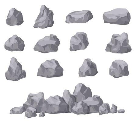 Cartoon stones. Rock stone isometric set. Granite boulders, natural building block shapes. 3d decoration isolated vector collection. Illustration of boulder geology, nature stone material Ilustração