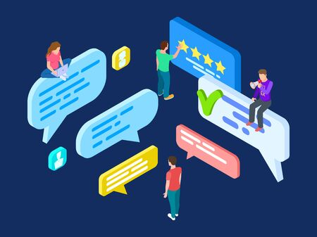 Isometric review vector. Feedback concept with people and speech bubbles. Customer write review online, isometric 3d feedback and evaluation illustration