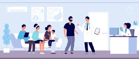 Patients in doctors waiting room. People wait hall in clinic at hospital reception, hospitalized persons, healthcare vector concept. Medical hall interior, clinic reception illustration