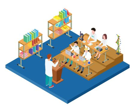 Chemistry lecture isometric. Vector medical, scientists, pharmacists students. Scientific laboratory work. Illustration of education research laboratory, scientific chemical experiment Illustration