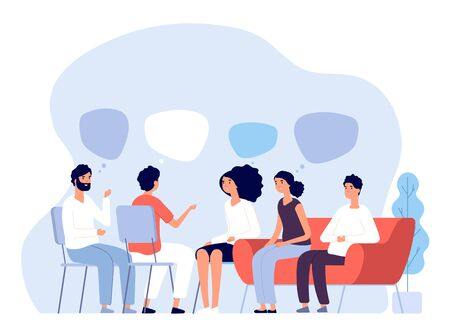 Addiction treatment concept. Group therapy, people counseling with psychologist, persons in psychotherapist sessions. Vector image. Illustration psychologist counseling group patient Vettoriali