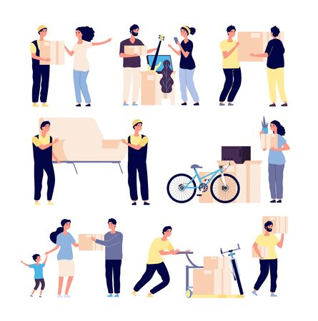 People moving new house. family moves new home with loaders, collect supplies in boxes. Isolated vector characters set. Illustration of delivery people, relocation and move box