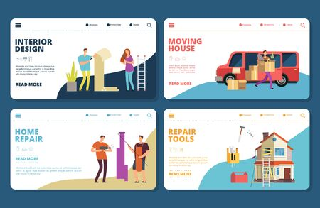 Renovation, repair, design, moving vector landing pages tempplate. Illustration moving and restoring building, renovate and relocation to home Stock Illustratie