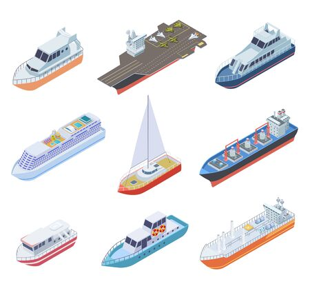Isometric ships. Vessels shipping nautical boats barge commercial ship sea business marine sailing yacht ferry 3d vector shipment set. Ferry isometric, water marine transport collection illustration