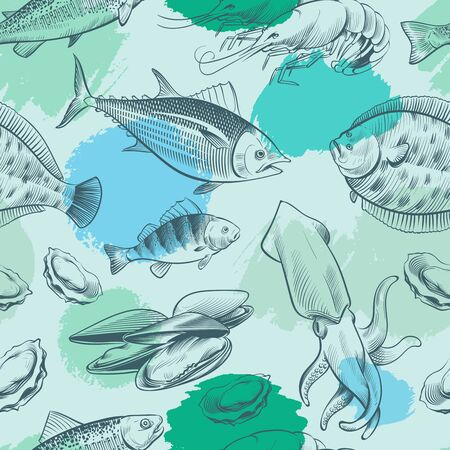 Sea life seamless pattern with grunge elements. Ocean texture with fish, shell, octopus. sea life seamless pattern, ocean animal, sea wild fish illustration