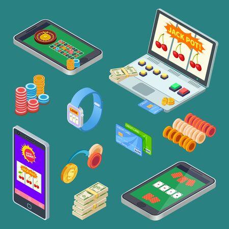 Online gambling, casino app isometric vector elements. Illustration casino gambling game, poker and roulette