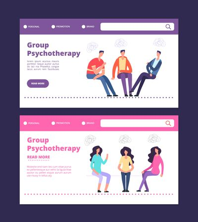 Group psychotherapy web banners template. Male and female group therapy vector landing pages. Illustration of psychotherapist and psychologist, therapy group problem