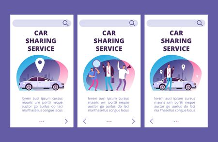 Car sharing service mobile app pages vector template. Illustration of car app service, web page for rent car, carsharing