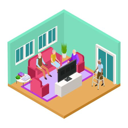Isometric nursing home living room interior with old people vector concept. Illustration of elderly pensioner retirement, woman and man in living room