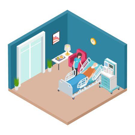 Hospital ward, resuscitation interior vector. Isometric nurse caring for older man. Illustration of medical care hospital, patient healthcare in ward