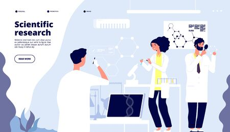 Scientific research landing. Scientists in pharmaceutical drug laboratory, researchers in lab with nano elements. Medical vector page. Illustration of research scientist, science lab experiment