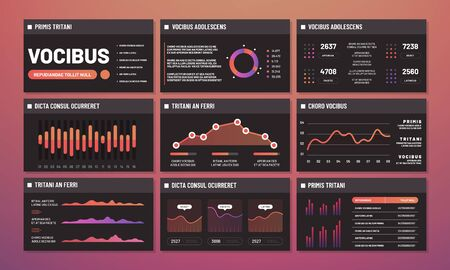 Szablony prezentacji wektor, pulpity nawigacyjne infografika. Nowoczesne strony interfejsu infografiki. Ilustracja interfejsu infografiki pulpitu nawigacyjnego, prezentacji analizy wykresu, diagramu i wykresu
