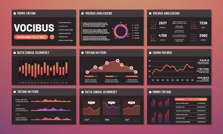 Vettore di modelli di presentazione, cruscotti infografici. Pagine dell'interfaccia infografica moderna. Illustrazione della dashboard infografica dell'interfaccia, presentazione dell'analisi del grafico, diagramma e grafico