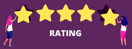 Girls giving five star rank. Best work quality, feedback or rating vector concept. Feedback experience, good review rank, girl give five stars quality illustration Illustration
