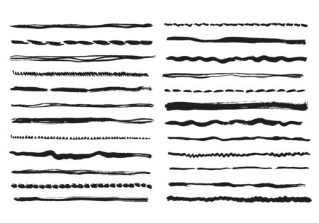 Pencil lines. Texture doodle freehand line strokes chalk scribble black line sketch grunge borders handmade vector dividers isolated. Brush grunge texture, black freehand stroke illustration