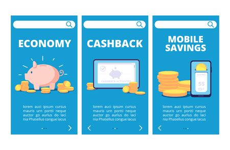 Save money mobile app pages. Banking and savings banners. Illustration of business finance, cashback and banking online Ilustração
