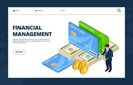 Financial management. Online banking, credit, finance landing page template. Credit money management, online finance bank illustration Ilustração