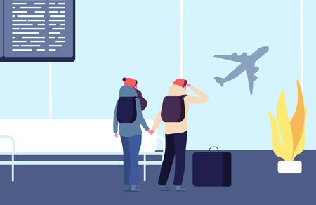Be late for flight. Passengers and flying away plane vector illustration. People late to flight, passenger traveler with luggage