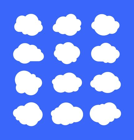 White simple clouds. Thinking bubbles or tags, cloud message abstract shapes. Cumulus isolated on blue sky. Cartoon vector set of clouds in sky, air bubble illustration
