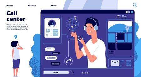Online support concept. Customers in call center chat with operator, consultant helps client. 24x7 support vector landing page. Illustration operator support, help chat for customer Ilustrace