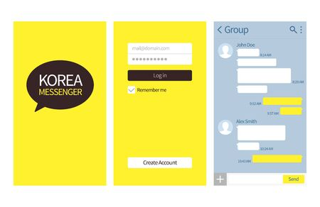 Korean messenger. Kakao talk interface with chat boxes, login and create account page vector template. Kakao korean app interface smartphone illustration