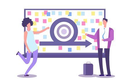 Agile method presentation. Vector businesspeople and scrub board. Agile concept and agility model development, people plan achievement illustration Ilustração Vetorial