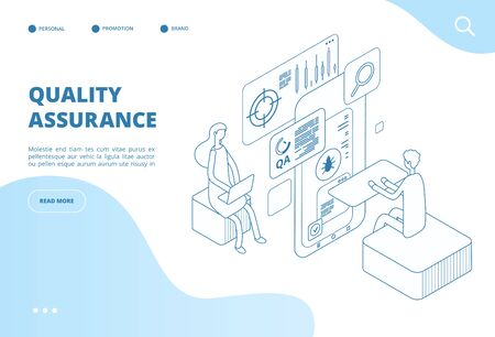 Quality assurance concept. Assured result of app test, software analysis and inspection. Bug fixing, program testing vector web page. Illustration of quality assurance software, isometric testing bug Vectores