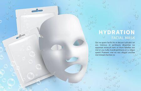 Masque facial cosmétique. Masque et sachet de feuille d'hydratation de vecteur. Modèle d'affiche d'annonces de cosmétologie. Illustration de la peau du visage, du spa et de la cosmétologie de beauté