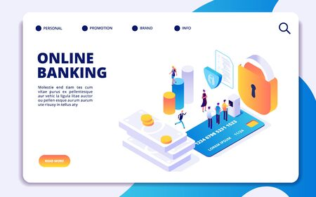 Online banking isometric landing page. Vector internet money transfers, secure payment, mobile banking app. Illustration of online banking isometric landing page