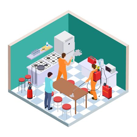 Kitchen disinfection. Isometric pest control. Vector disinfection service team. Illustration of nsecticide insect kitchen, worker service again cockroach Çizim
