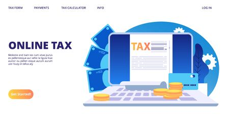 Online tax landing page. Vector digital tax form web banner template. Illustration of online tax accounting, finance payroll Stock Vector - 128505437