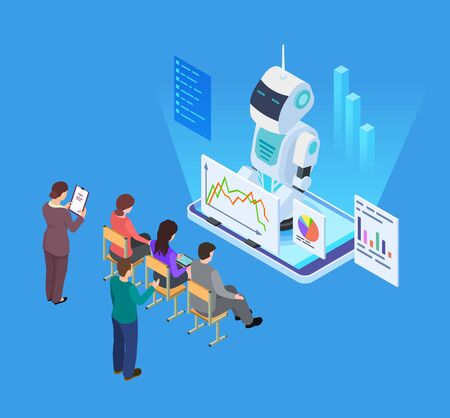 Business training with artificial intelligence. Isometric vector robot tutor, business education concept. Robot ai doing business presentation illustration Çizim