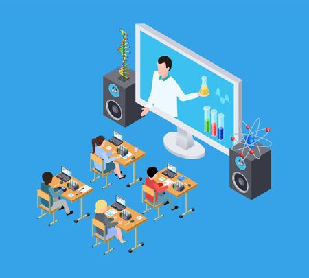 Childrens science experiment. Isometric chemistry lesson for kids. Online education vector concept. Illustration education school, chemistry lesson
