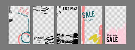 template with transparent background and grunge elements. Instagram poster transparent story, discount effect and special advertising illustration