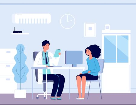 Patient in doctor office. Physician medical consulting. Diagnosis treatment patients in hospital, healthcare vector concept. Diagnosis patient and care, treatment healthcare Ilustracje wektorowe