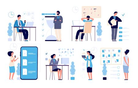 Effective time management. Man managed tasks, planning strategy organized activities schedule isolated vector characters. Illustration management business, schedule strategy calendar 向量圖像