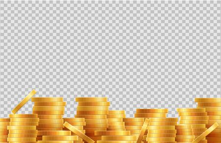 Stacks of coins vector. Lot golden coins isolated on transparent background. Illustration stack wealth golden coins, treasure investment financial
