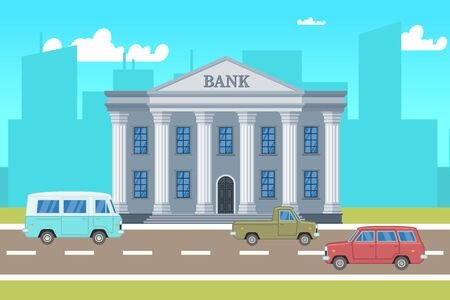 City landscape with bank building, cars, skylines silhouettes illustration. Building cityscape, architecture bank , urban town