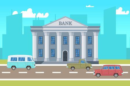 Paisaje de la ciudad con edificio de banco, coches, siluetas de horizontes ilustración. Edificio de paisaje urbano, banco de arquitectura, ciudad urbana