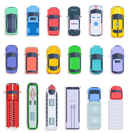 Top view public transport. Taxi and police car, city bus and ambulance vehicle. Delivery truck, train and fire engine flat vector set. Fire autotruck, train vehicle, automobile top view illustration Illustration