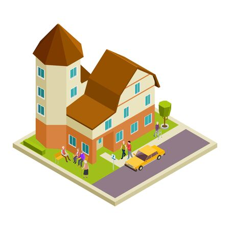 Isometric nursing house vector. Elderly people walking and speaking concept. Illustration of house retirement, elderly patient woman and man