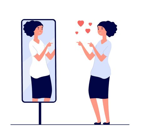 Woman at mirror. mirrored happy girl. cartoon reflected beautiful female narcissism and love of self vector concept. Illustration of woman look at mirror, happy character female Illustration