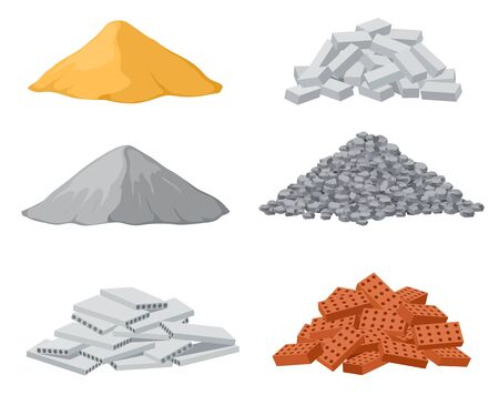 Building material piles. Red and lime brick, cement heaps. Gravel pile and reinforced concrete slabs isolated vector set. Industrial pile brick, block and sand, wood and stone illustration