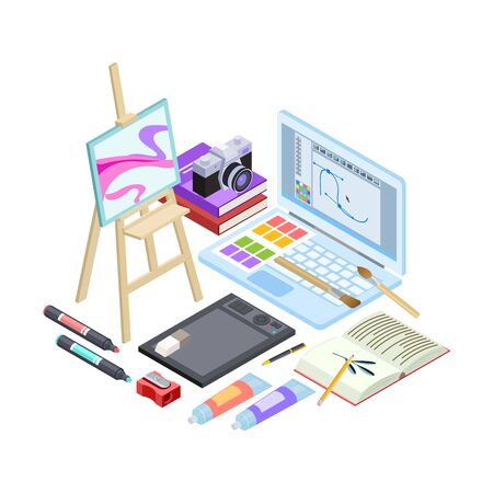 Isometric stationery and drawing tools isolated on white background. Vector art tools, brushes, paints, sketchbook illustration. Education isometric art tool, stationery brush and paint