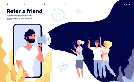 Refer a friend. People shouting on megaphone with refer a friend word, friends recommend landing page vector design. Illustration refer friend, advertising announcement, referring online