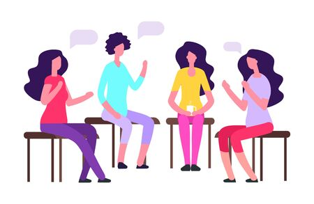 Woman group therapy vector illustration. Female psychoteraphy concept. Counseling psychoteraphy, female meeting and therapy