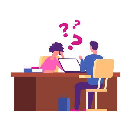 Student has problems at interview. Examination, university interview vector concept. Illustration employee interview, problem student solution Ilustração